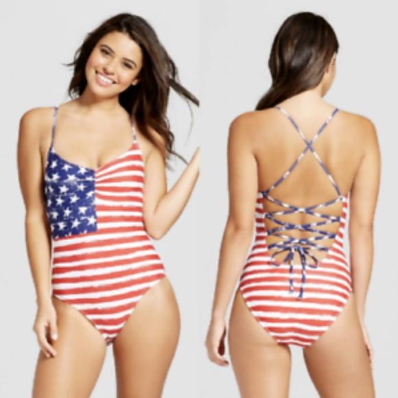 c53c42ffab Xhilaration Swim | American Flag Patriotic July One Piece Suit M ...